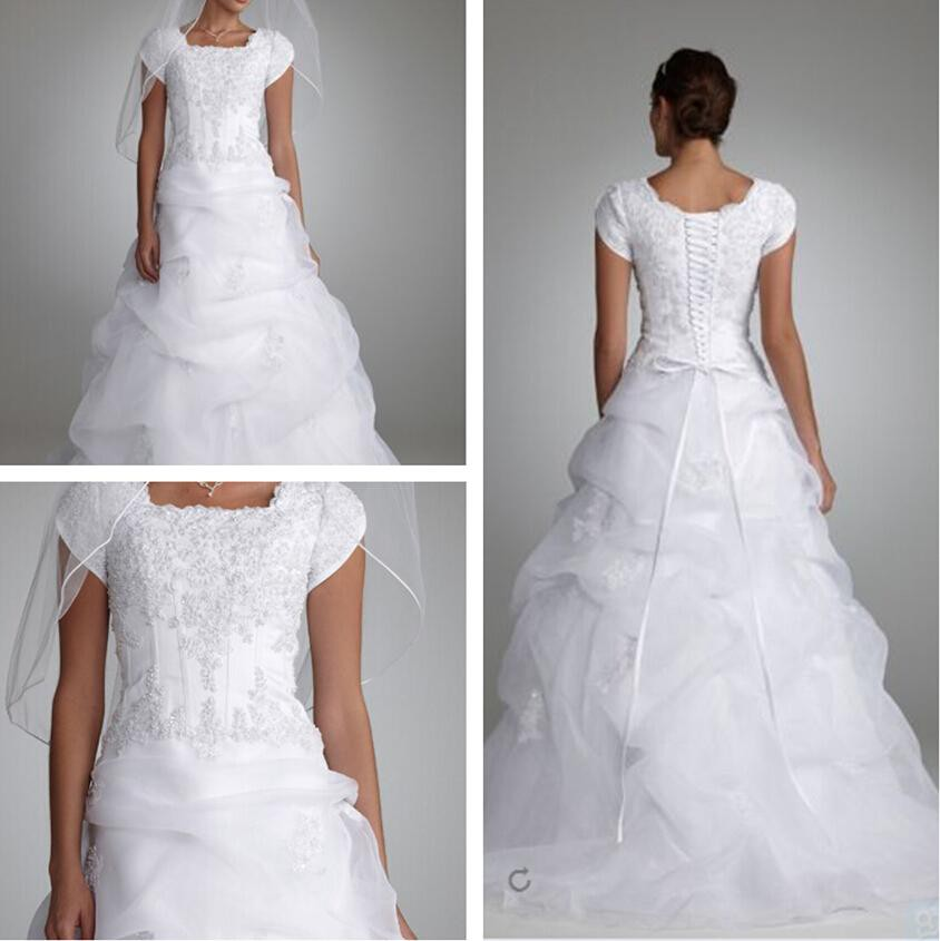 David 39 s bridal pick up organza new wedding dress on sale for Pick up wedding dress