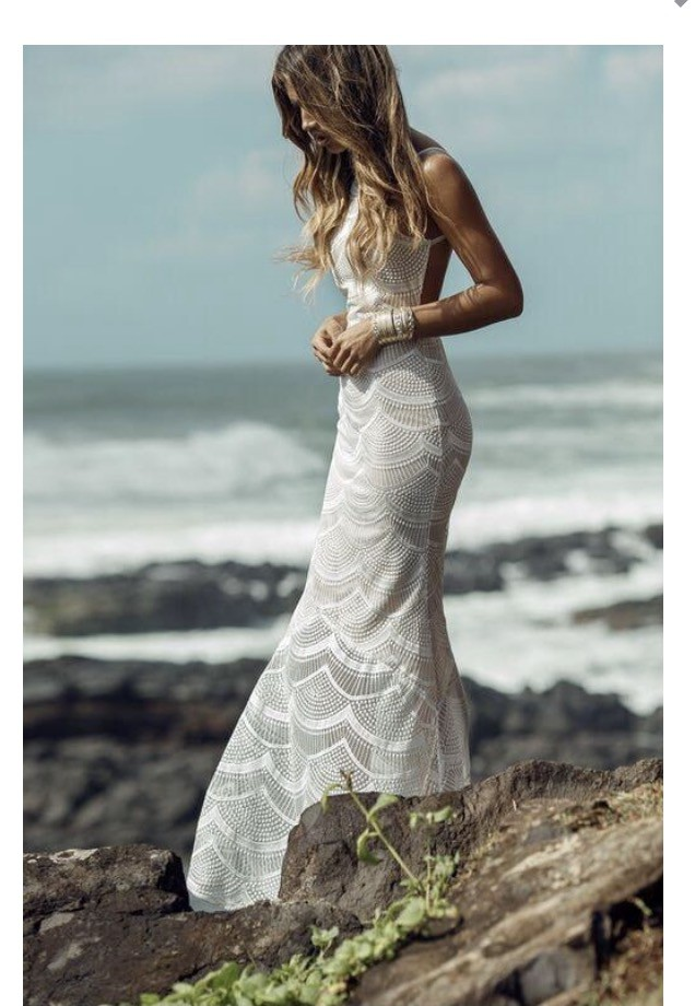 Stone Cold Fox Scallop Lace Logan Dress White Boho New Wedding Dress ...
