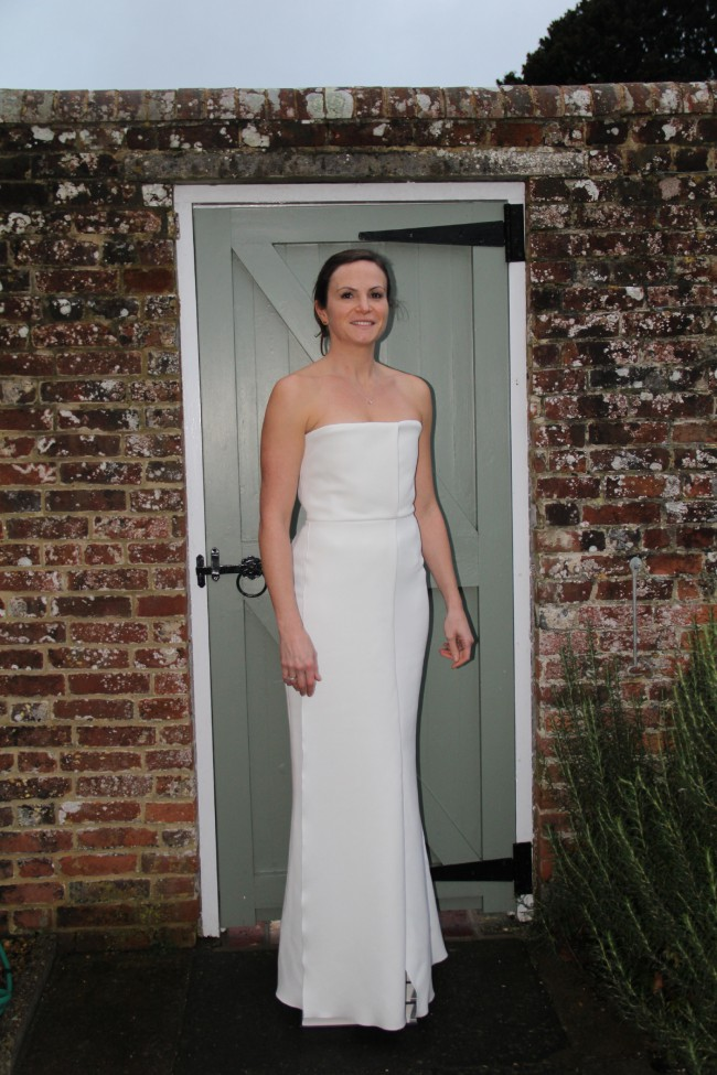 Victoria Beckham White Crepe Dress New Wedding Dress on Sale 78% Off
