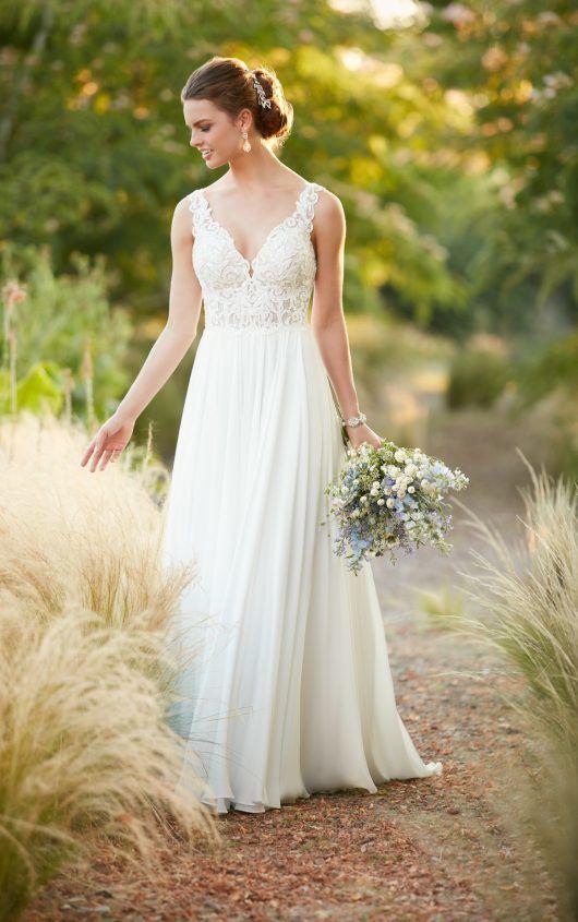 Essense of Australia, Beach Boho Chiffon Wedding Gown D2292